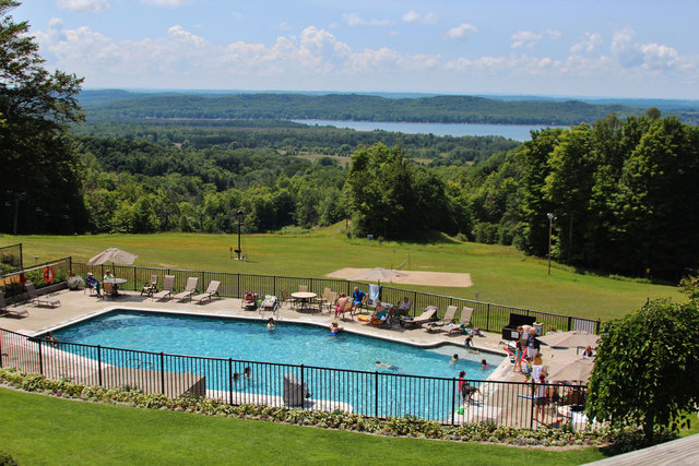 Jason Scott Deegan The Pool Behind Lakeview Hotel Conference Center At Shanty Creek Resorts Overlooks Lake Bellaire