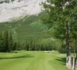 The first hole on the Mt. Kidd Course at Kananaskis Country Golf is a long, dogleg right par 4.