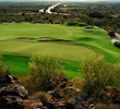 The sixth green at Las Sendas Golf Club in Mesa, Ariz., is a haven surrounded by rough terrain.