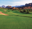 A large, flat green awaits you on No. 10 at Sedona Golf Resort.
