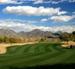 The second hole on the Champions course at TPC Scottsdale is a long, dogleg left par 4.
