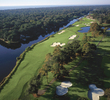 The 15th and 16th holes on the George Fazio Course at Palmetto Dunes Oceanfront Resort play along a river.