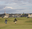 The closing holes on the Jubilee Course in St. Andrews play back toward the town.