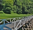 This bridge leads to the holes of Shawnee Inn and Golf Resort on the island in the middle of the Delaware River.