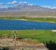 The scenery on the 18th hole of the Sun Mountain Course at Las Vegas Paiute Golf Resort rules the day.