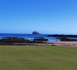 The first green at North Berwick Golf Club overlooks the beach.
