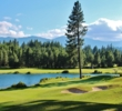 A pond protects the par-5 finishing hole on the Prospector golf course at Suncadia Resort in Washington.