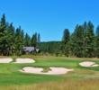 Bunkers snare misses to the third green of the Rope Rider Course at Suncadia Resort.