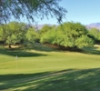A tricky green toughens up the second hole of the Mountain View Course at Desert Willow Golf Resort.