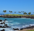 The 15th hole on the South Course at Mauna Lani Resort flies over a coastal cove on Hawaii's Big Island.