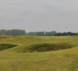 Bunkers protect the ninth green at Royal St. George's Golf Club in Kent.