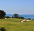 The Pacific Ocean comes into view from the elevated tees of the par-3 second hole of the Palos Verdes Golf Club.
