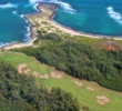 Check out the bird's-eye view from a helicopter of the 17th hole on the Palmer Course at Turtle Bay Resort.