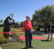 Jack Nicklaus takes part in a ribbon-cutting ceremony at PGA National after he redesigned the 14th hole.