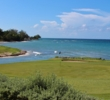 The fourth green of The Tryall Club hugs the Caribbean Sea near an inlet of the Flint River.