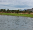 A hidden water hazard guards the ninth green at Cabo San Lucas Country Club.