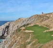 The sixth green on Quivira clings to a mountainside cliff along the Pacific Ocean.