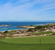 The elevated second green reveals the beauty of Spyglass Hill Golf Course in Pebble Beach, Calif.