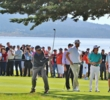 Clint Eastwood hits a shot from the 18th fairway of Pebble Beach Golf Links during the 3M Celebrity Challenge at the 2015 AT&T Pebble Beach National Pro-Am.