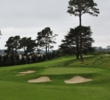 The 335-yard 16th hole at Lake Merced Golf Club is a great short par 4 where the green is hidden from view below a hill.