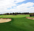 The par-5 second hole at AT&T Oaks at TPC San Antonio features an elevated double green shared with the par-3 seventh.