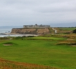 The elevated 16th tee of the Ocean Course at Half Moon Bay Golf Links provides a bird's eye view of the Ritz-Carlton Half Moon Bay.
