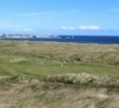 The second hole of the Corbie Hill links at Fraserburgh Golf Club climbs a dune hill to reveal a great view of the course and the water.
