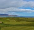 The view from the clubhouse overlooks the 18th green at Brora Golf Club in the Highlands of Scotland.