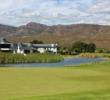Water lurks up the entire right side of the second hole at the Pearl Valley Golf & Country Estate in South Africa.