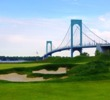 With the Whitestone Bridge in the background, the par-5 18th is the finishing hole to an unique golf experience in New York City.