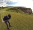 Taking dead aim on the spectacular par-3 16th hole at Cabot Cliffs.
