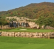 An island green and waterfall make the 10th hole a signature moment on the Haesley Nine Bridges golf course in South Korea.