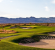 The sixth hole on the Sun Mountain Course at Las Vegas Paiute Golf Resort has plenty of bunkers equipped with Pete Dye's famous railroad ties.