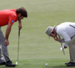 Robert Rock of England gets a ruling from a referee during day one of the Volvo World Match Play Championship at Finca Cortesin Golf Club on May 17, 2012 in Casares, Spain.