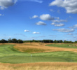 The 11th green at Erin Hills is the climax to a 403-yard par four. The No. 10 green sits in the background.