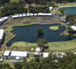 An aerial of the famous theater that is the 16th green and 17th hole at the PLAYERS Stadium Course at TPC Sawgrass.