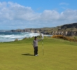 The fifth green on the Dunluce Links at the Royal Portrush Golf Club sits closest to the shore.