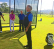 Golf fitness guru Roger Fredericks demonstrates proper breathing technique at the Omni La Costa.