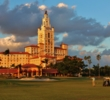 The ninth hole of The Biltmore course showcases the historic Miami Biltmore Hotel.