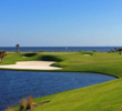 The par-3 17th is one of six holes on the Ocean Course at Hammock Beach Resort in Florida.