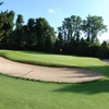 A view of hole #1 protected by bunkers at Hamburg-Ahrensburg Golf Club