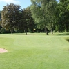 A view of green #8 with bunkers on sides at Hamburg-Ahrensburg Golf Club