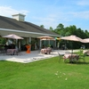 A view of the clubhouse terrace at Williamsburg National Golf Club