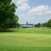 A view of the 10th green with clubhouse in background at Patuxent Greens Country Club