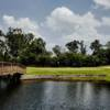 A view over the water of a green at Hearthstone Country Club
