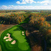 Aerial view of the par-3 6th hole at ThunderHawk Golf Club
