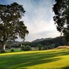 A sunny view of green at Aetna Springs Golf Course