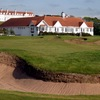 A view of the 18th green from the Trump Turnberry - King Robert the Bruce Course with the clubhouse in background.