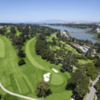 Aerial view of the par-5 16th hole at Lake Course from Olympic Club