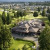Aerial view of the clubhouse at Crown Isle Golf Course